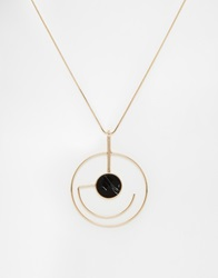 New Look Geo Pendant Necklace Black