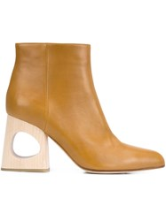 Marni Cut Out Heel Ankle Boots Brown