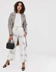 Selected Femme Printed Wide Leg Trousers With Elasticated Waist White
