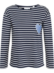 Chinti And Parker Striped Heart T Shirt Blue