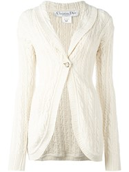 Christian Dior Vintage Long Knit Cardigan White