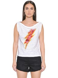 Just Cavalli Lighting Bolt Print Cotton Jersey Top