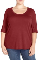 Plus Size Women's Sejour Elbow Sleeve Scoop Neck Tee Red Aurora
