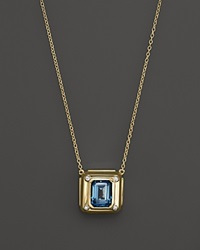 Kara Ross 18K Yellow Gold And Diamond Cast Cava Pendant Necklace With Blue Topaz 18 Gold Multi