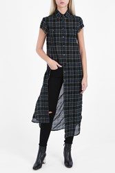 R 13 Maxi Plaid Shirt Black 7