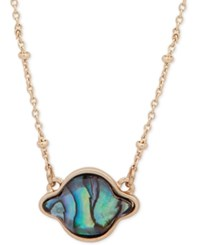 Lonna And Lilly Gold Tone Stone Pendant Necklace 16 3 Extender Blue Green