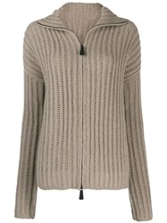 Dusan Zip Up Knitted Cardigan Neutrals