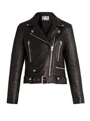 Acne Studios Mock Leather Biker Jacket Black