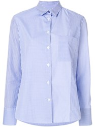 Paul Smith Ps By Check And Stripe Panel Shirt Blue