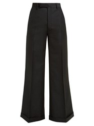 Gucci Flared Wool Blend Trousers Black