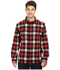 Woolrich Wool Buffalo Shirt Red White Black Plaid Men's Long Sleeve Button Up Multi
