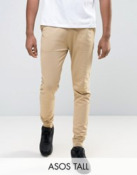 Asos Tall Skinny Joggers In Beige Oxford Tan