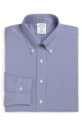 Brooks Brothers Big And Tall Regular Fit Houndstooth Dress Shirt Blue