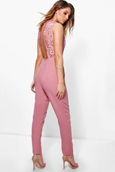 Boohoo Crochet Detail Open Back Jumpsuit Blush