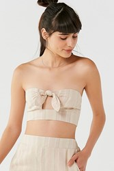 Urban Outfitters Uo Just In Time Tie Front Tube Top Neutral Multi