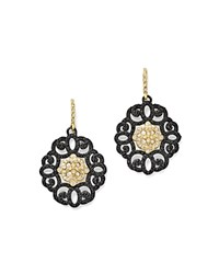 Armenta 18K Yellow Gold And Blackened Sterling Silver Old World Diamond And Black Sapphire Filagree Earrings White Black