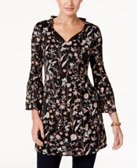 Style And Co Floral Print Peasant Tunic Only At Macy's Woodland Garden