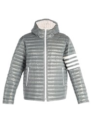 Thom Browne 4 Bar Stripe Quilted Down Filled Jacket Grey