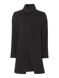 Label Lab Baines Casual Button Overcoat Charcoal