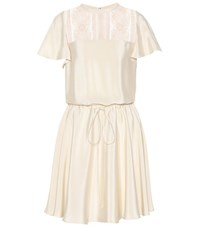 Valentino Lace Panelled Silk Dress White