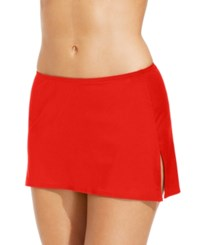 Coco Reef Solid Slit Swim Skirt Women's Swimsuit Lava Coral