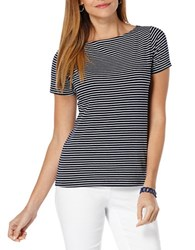 Rafaella Striped Boatneck Tee Navy