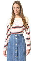 Mih Jeans Simple Marniere Tee Cream Navy Red