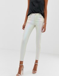 Lipsy Coated Skinny Jeans In Pearlescent Cream Pink