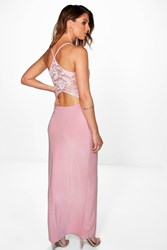 Boohoo Lace Back Plunge Neck Maxi Dress Peach