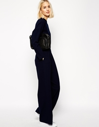 Asos White Wide Leg Trousers In Crepe Navy