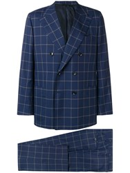 Kiton Check Two Piece Formal Suit Blue