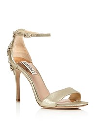 Badgley Mischka Bartley Embellished Ankle Strap High Heel Sandals Platino Gold
