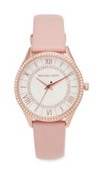 Michael Kors Lauryn Leather Watch Rose Gold White Blush