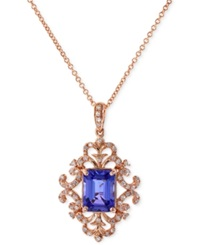 Effy Collection Tanzanite 1 1 3 Ct. T.W. And Diamond 1 5 Ct. T.W. Antique Pendant Necklace In 14K Rose Gold