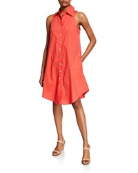 Finley Button Front And Back Sleeveless Swing Dress Coral