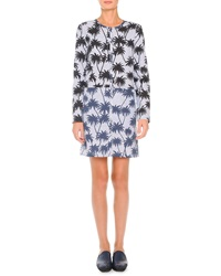 Tomas Maier Striated Palm Print Shirtdress White Blue Black
