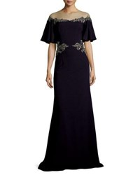 David Meister Illusion Off The Shoulder Column Evening Gown W Beaded Embellishments Navy