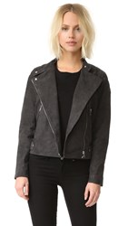 Just Female Mila Suede Biker Jacket Blue Stone