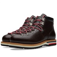 Moncler Leather Peak Boot Dark Brown