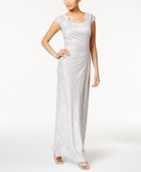 Tahari By Arthur S. Levine Asl Stretch Lace Ruched Column Gown Silver