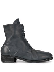 Guidi Lace Up Ankle Boots Blue