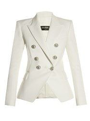 Balmain Six Button Double Breasted Wool Blazer White