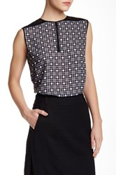 L.A.M.B. Sleeveless Printed Blouse With Tulle Multi