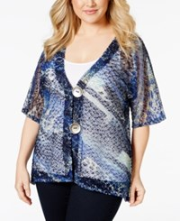 Jm Collection Woman Jm Collection Plus Size Sequined Animal Print Sheer Cardigan Only At Macy's