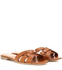 Saint Laurent Nu Pieds 05 Leather Sandals Brown