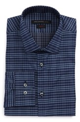 John Varvatos Men's Star Usa Slim Fit Stretch Check Dress Shirt Atlantic Blue