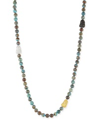 Chrysocolla And Pave Ball Necklace 38'L Mcl By Matthew Campbell Laurenza