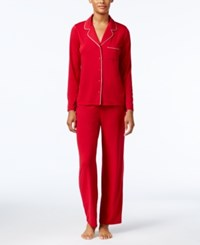 Alfani Notch Collar Knit Pajama Set Only At Macy's Red