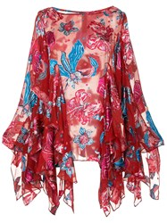 Romance Was Born Xanadu Floral Blouse Red