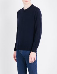 Canali Suede Patch Detail Wool Jumper Navy